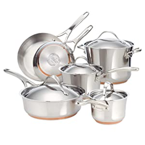 Anolon Nouvelle Stainless Steel Cookware Set, 10-Piece