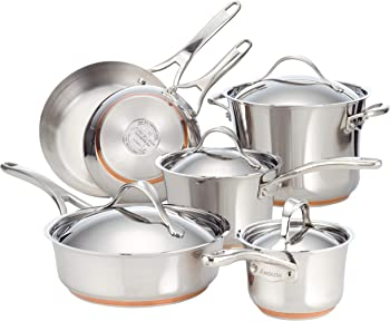 Anolon 75818 Nouvelle Stainless Steel Cookware Pots and Pans Set