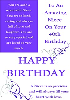 Niece 40th Birthday Card With Removable Laminate