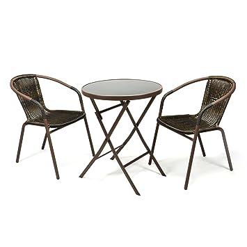 Set bistro 3 pièces Chaises et table de jardin en résine ...
