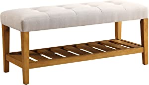 ACME Furniture Charla Bench, Light Gray & Oak, One Size
