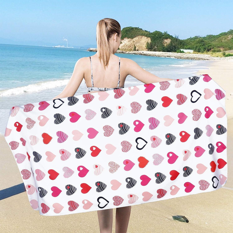 Ikfashoni Valentines Day Beach Towel, Love Heart Beach Towels Oversized, Large Sand Free Beach Towel, Absorbent Quick Dry Beach