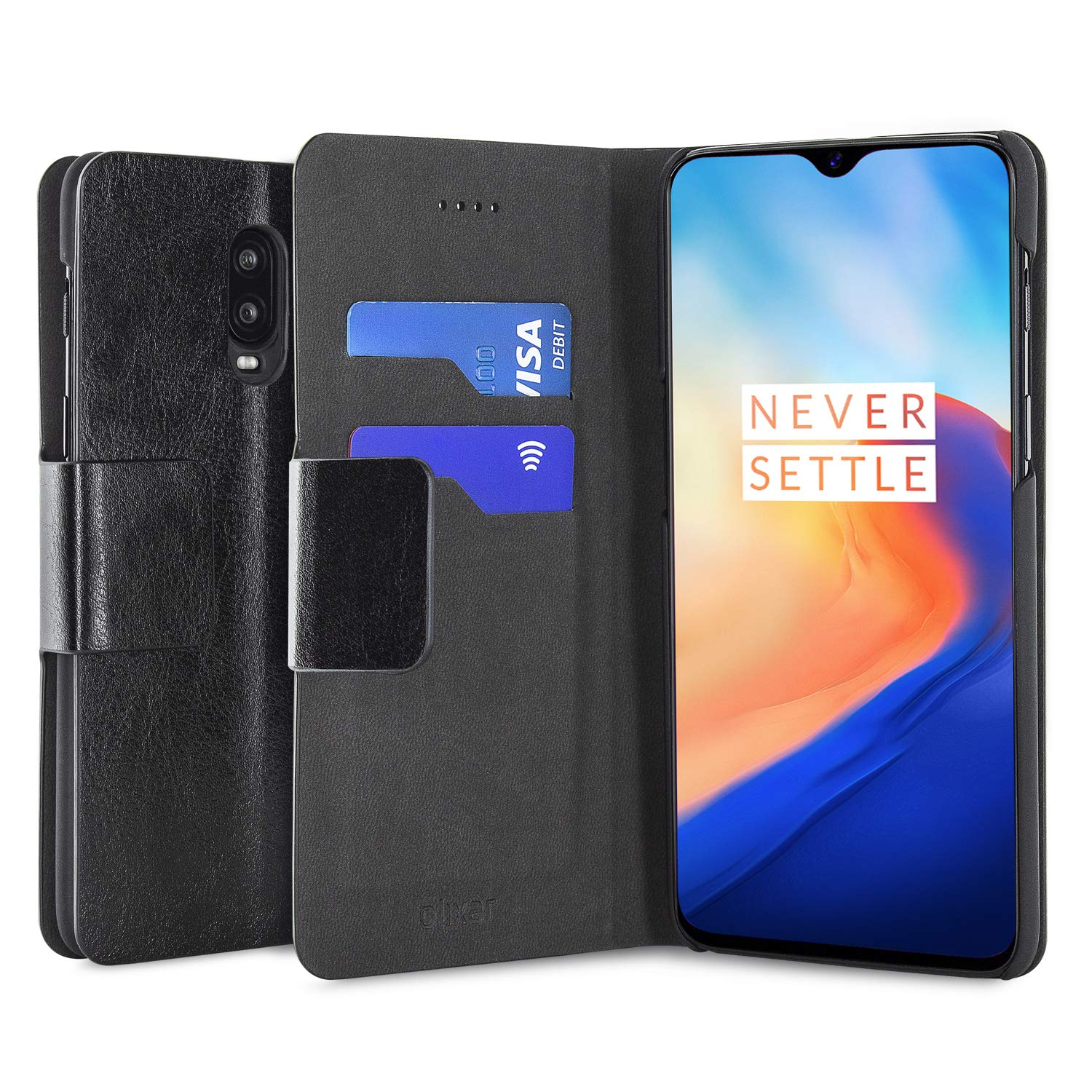 watch a6411 ca7de Amazon.com: Olixar OnePlus 6T Wallet Case - PU Leather Style ...