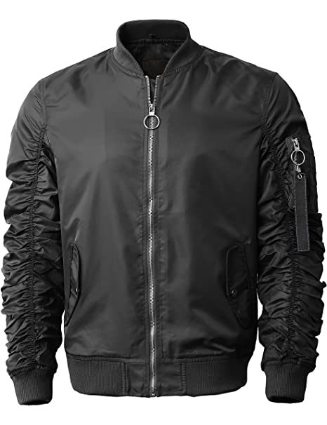 Ma Croix MX Mens Ruched Bomber Jacket Lightweight Waterproof