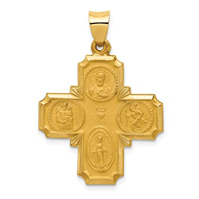 14K Yellow Gold Hollow Four-Way Cross Medal Pendant 34x25mm 1.43gr