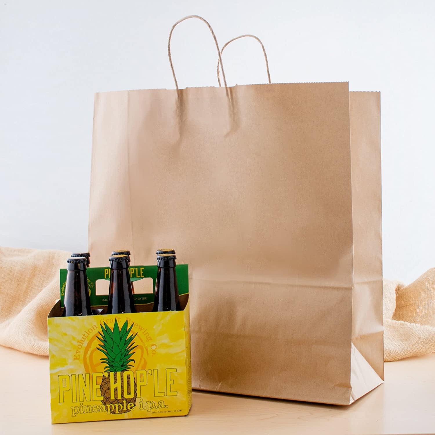 Natural Kraft Jumbo Shopping Bag with Handles Brown, Bulk, Gift, Merchandise - 18 x 7 x 19 Pack of 20 - Made in Canada