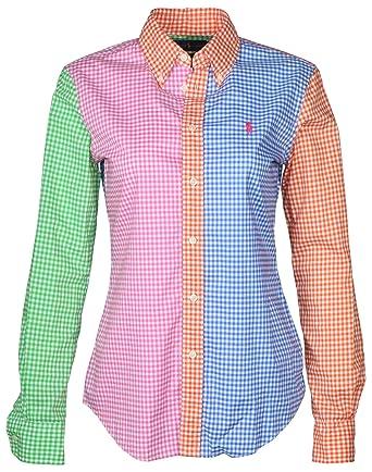 7c0c8046 Polo Ralph Lauren Women's L/S Custom Fit Gingham Shirt, Fun, 4 at Amazon  Women s Clothing store: