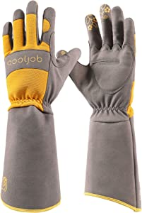 COOLJOB Rose Pruning Thorn Proof Gardening Gloves For Women, Long Sleeve Puncture Proof Gloves With Forearm Protection For Ladies, Medium Size, Orange & Grey (1 Pair M)