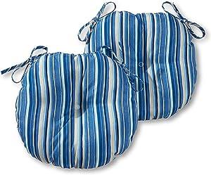 Greendale Home Fashions AZ5816S2-SAPPHIRE Steel Blue Stripe Outdoor 15-inch Bistro Seat Cushion (Set of 2)