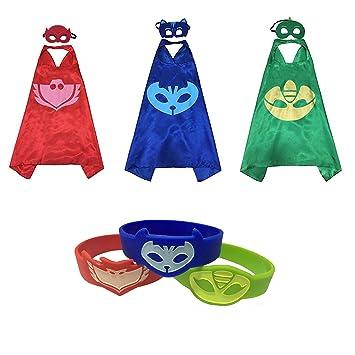 YL PJ máscaras disfraces Set de 3 Catboy Owlette Gekko máscara con capa y pulsera