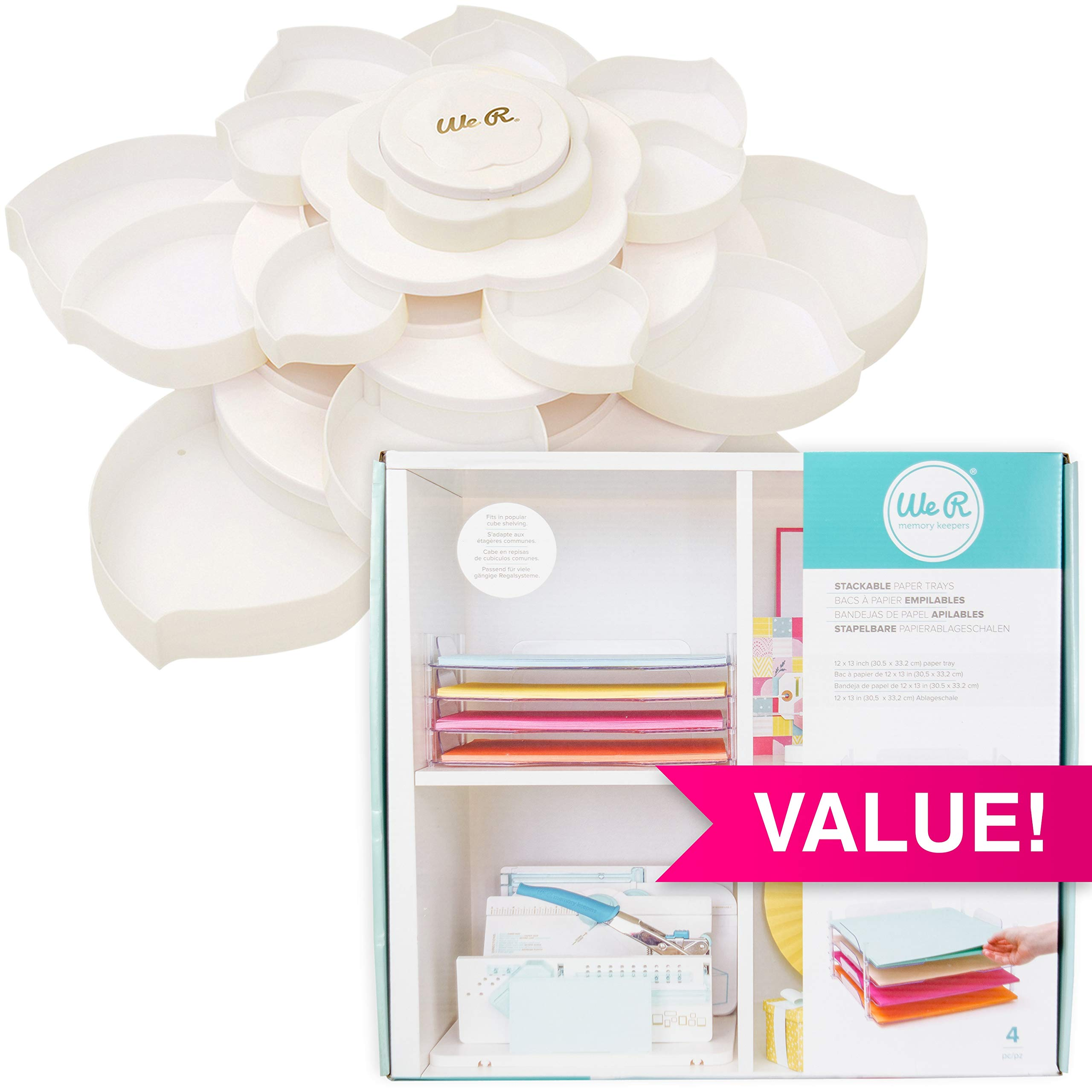 We R Memory Keepers 546 Desktop Bundle with Paper Trays & Embellishment Storage, White
