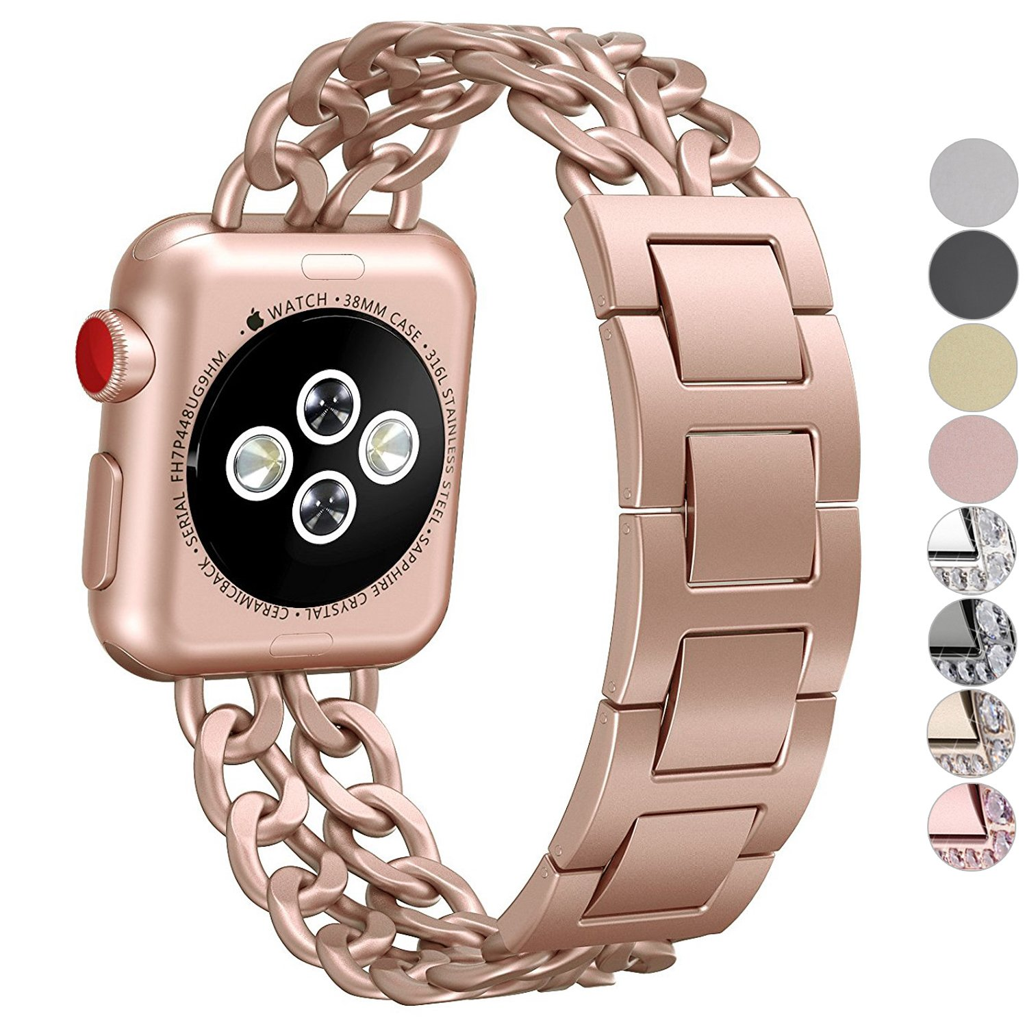 NO1seller Top Stainless Steel Metal Cowboy Style Watch Band Bracelet Strap for Apple Watch Series 3, Series 2, Series 1, Small and Large Size, For Women and Men, Apple Watch Series 3 Gold - 42mm