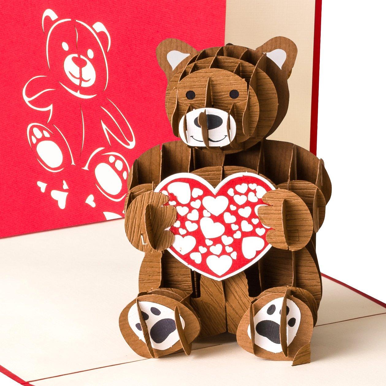 Biglietto di auguri per San Valentino o per nascita, con orsacchiotto 3D pop up, fatto a mano primetea