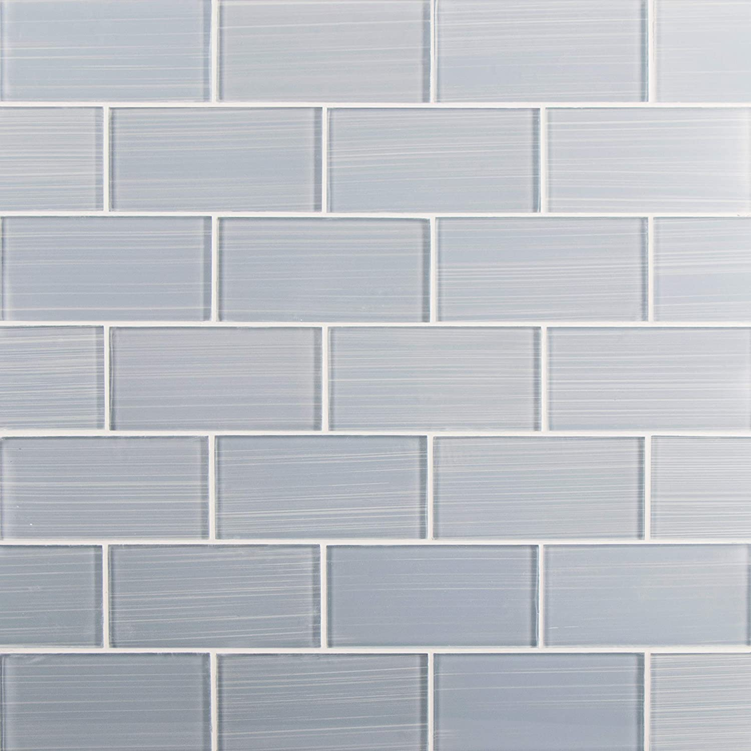 Glass Subway Backsplash Tile Bambu Hand Painted Series for Kitchen and Bathroom by WS Tiles WST-17PH 4 x 12 Individual 5 SqFt, Soft Gray