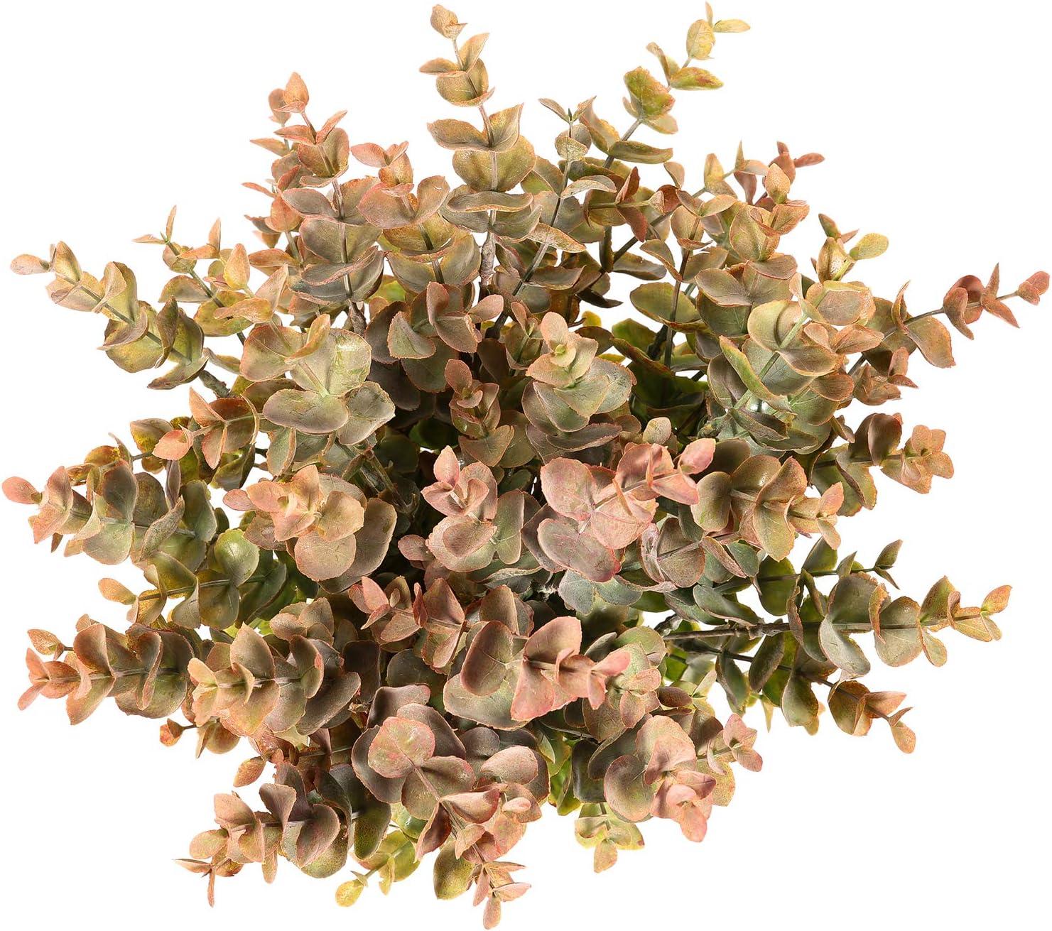 Flojery 4Pcs Artificial Eucalyptus Plant Fake Silver Dollar Eucalyptus Branches Greenery Wedding Jungle Theme Party Home Decor (Fall Green)