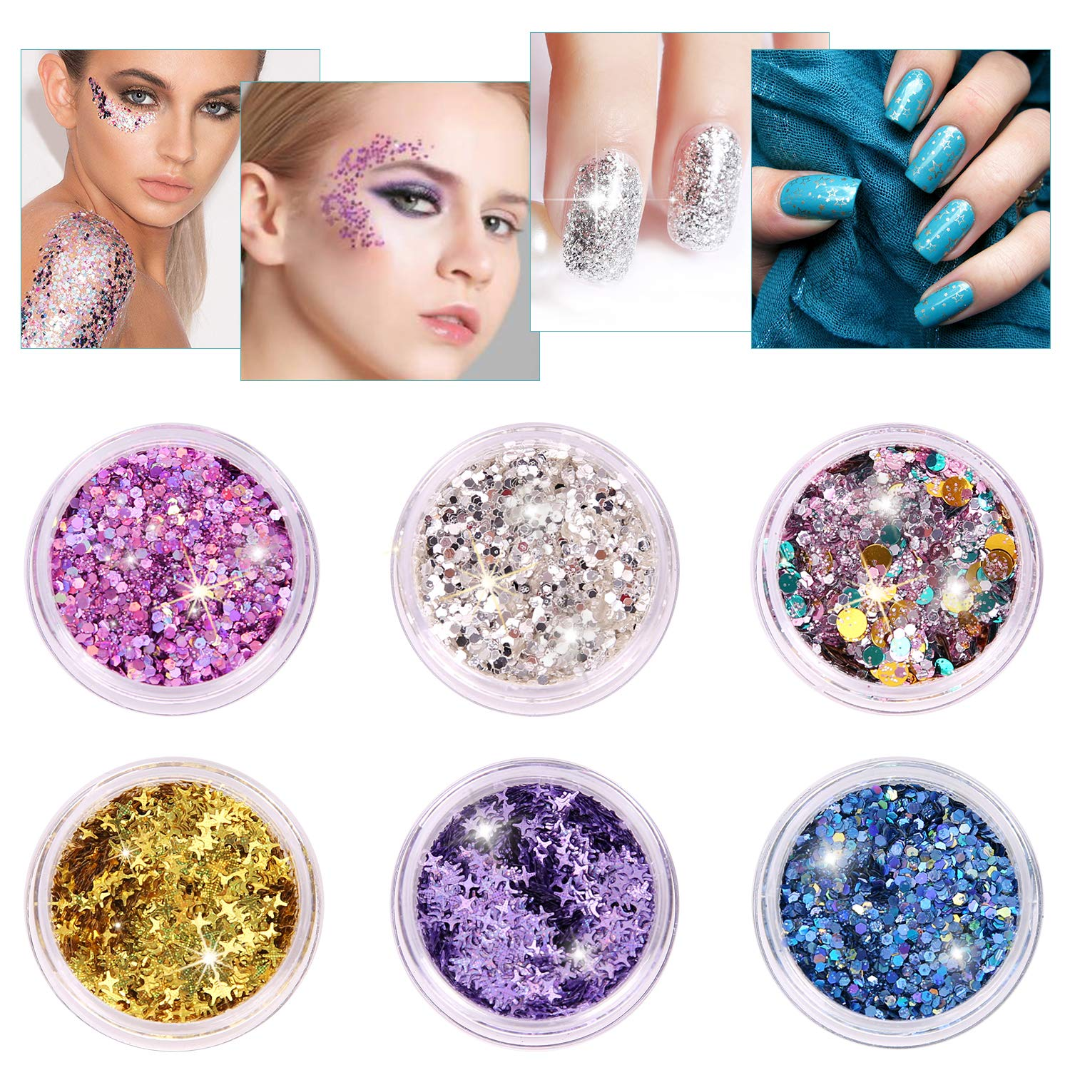 Kitymate Gesicht Glitter Chunky Glitter für Nägel und Körper, Cosmetic Make Up Glitter Paillette Music Festival Masquerade Halloween Party Christmas Ball (6 Farben)