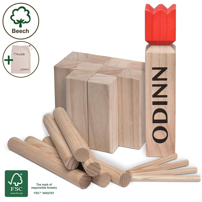Moorland Original Kubb Spiel XXL Odinn Wikingerspiel Outdoor Spiele Schwedenschach Holzspiele Schweres Buche Premium FSC/® Holzspiel mit Stoffbeutel
