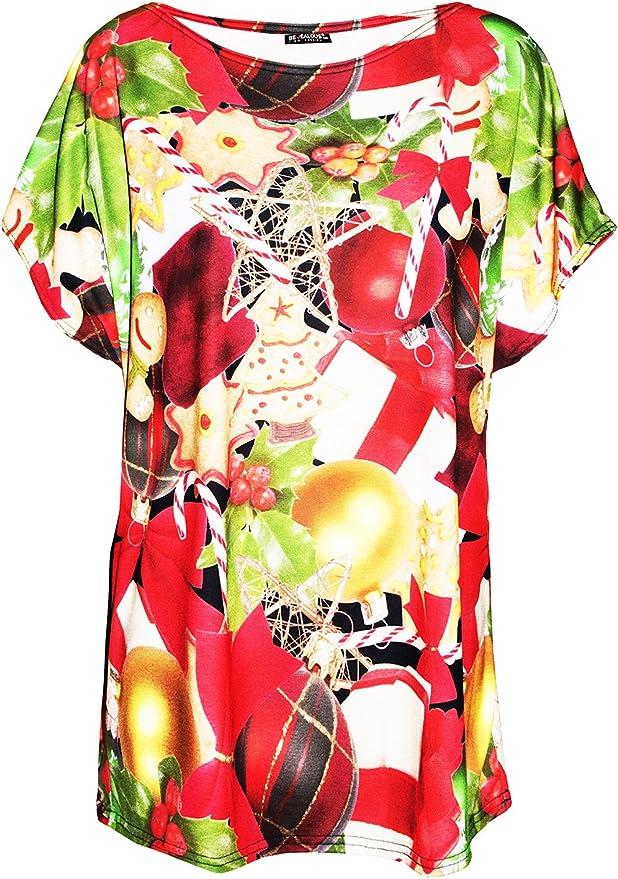 Womens Print Baggy Top Lagenlook Ladies Batwing Loose T Shirt Plus Size UK 8-22