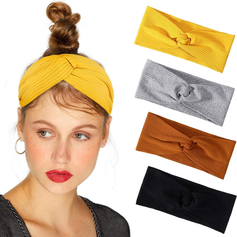 Bascolor Bandeau Cheveux Femme fleur imprimé Hair Bande élastique Turban Cheveux Sport Headband pour femme Cheveux Accessoire (4pcs coton bandeau)