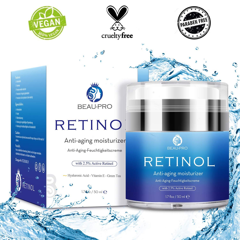 Crema Hidratante con Retinol para Día y Noche por- Crema Antiarrugas, retinol 2,5 %, ácido hialurónico, vitamina E,Hidratante de Rostro y Crema ...