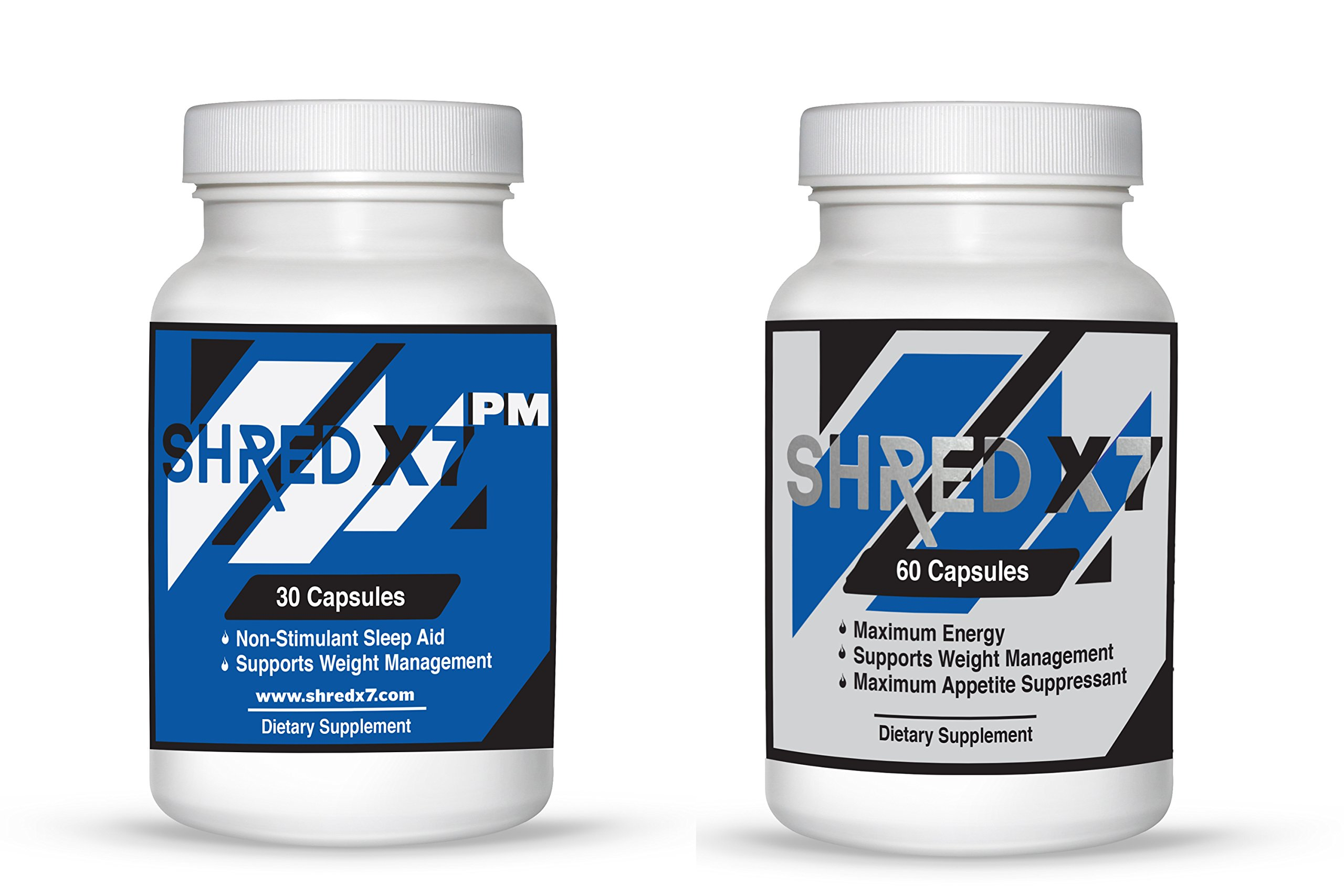 Shred X7- COMBO ORIGNAL AND PM- Diet pills for weight management and appetite suppression. One Bottle Each 60 Caps Original and 30 Caps PM