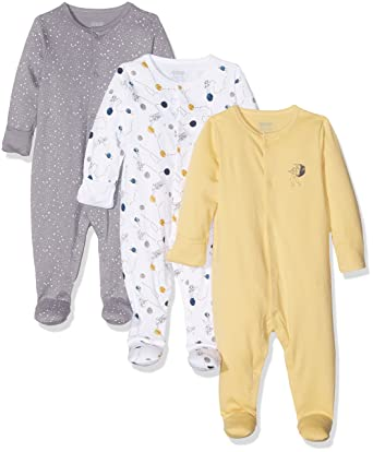 Mamas & Papas 3Pk Space Sleepsuits, Pelele para Dormir para Bebés, Multicoloured (Yellow