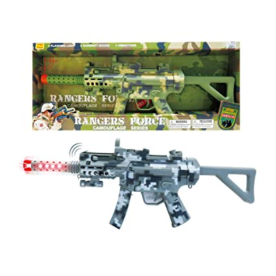 "Mozlly Light Up & Sounds Military Combat Force Camouflage Machine Gun, 21.5"" w/ Vibrations LEDs & Sounds Shotgun for Kids Boys - Pretend Play Dress Up Cosplay Costume Accessories, Colors May Vary: Toys & Games"