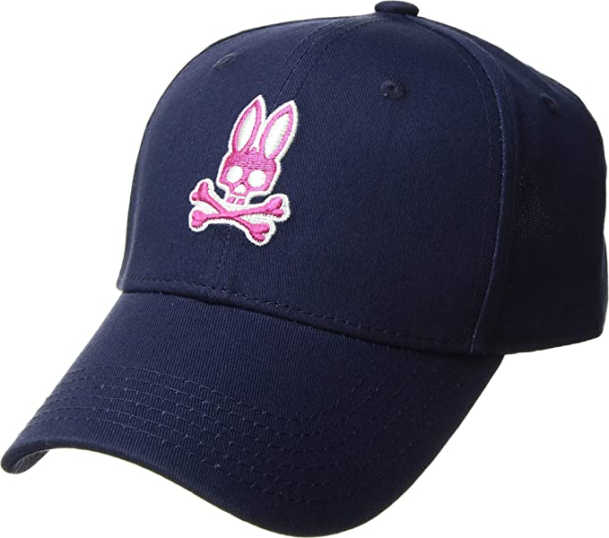 Psycho Bunny Men s Neon Embroidery Curved Brim Cap Blue Print One Size 0d045b86eef3