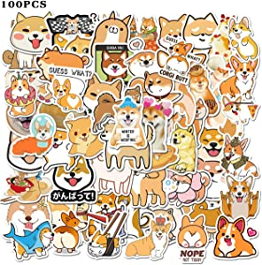 100pcs Welsh Corgi Pembroke Stickers Cute Dog Stickers Shiba Inu Stickers Animal Stickers Vinyl Waterproof Stickers for Teens Girls Kids Adults Hydroflasks Skateboard Laptop