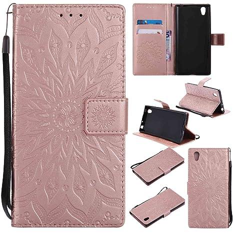 pinlu Flip Funda de Cuero para Sony Xperia E6/L1 Carcasa con Función de Stent y Ranuras con Patrón de Girasol Cover (Oro Rosa)