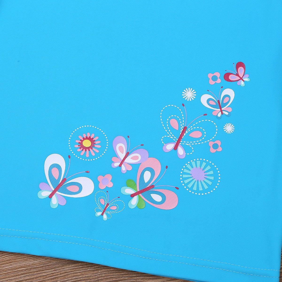 ACSUSS Kids Girls 2PCS Swimsuit Rash Guard Swimwear Floral Turtleneck Short Sleeves T-Shirt with Beach Board Shorts