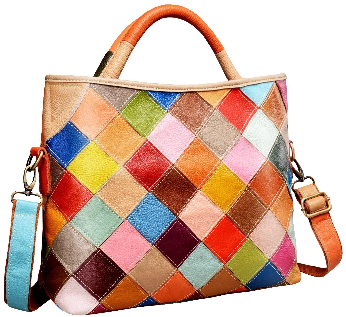 Heshe Women's Multi-color Shoulder Bag Hobo Tote Handbag Cross Body Purse (Colorful-2B4029)