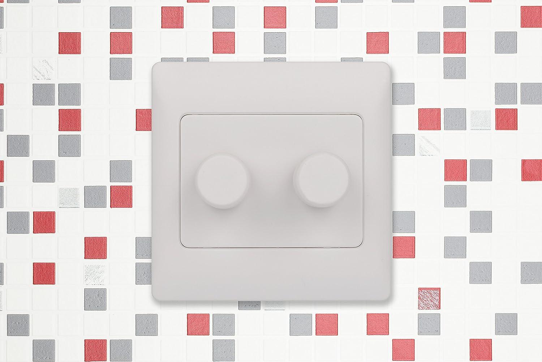 250 W//VA, 2 v/ías, con Interior de Color Gris Plateado, Blanco, GGBGRWE6022R Schneider Electric GGBGRME6022R Rocca Regulador de Intensidad Doble