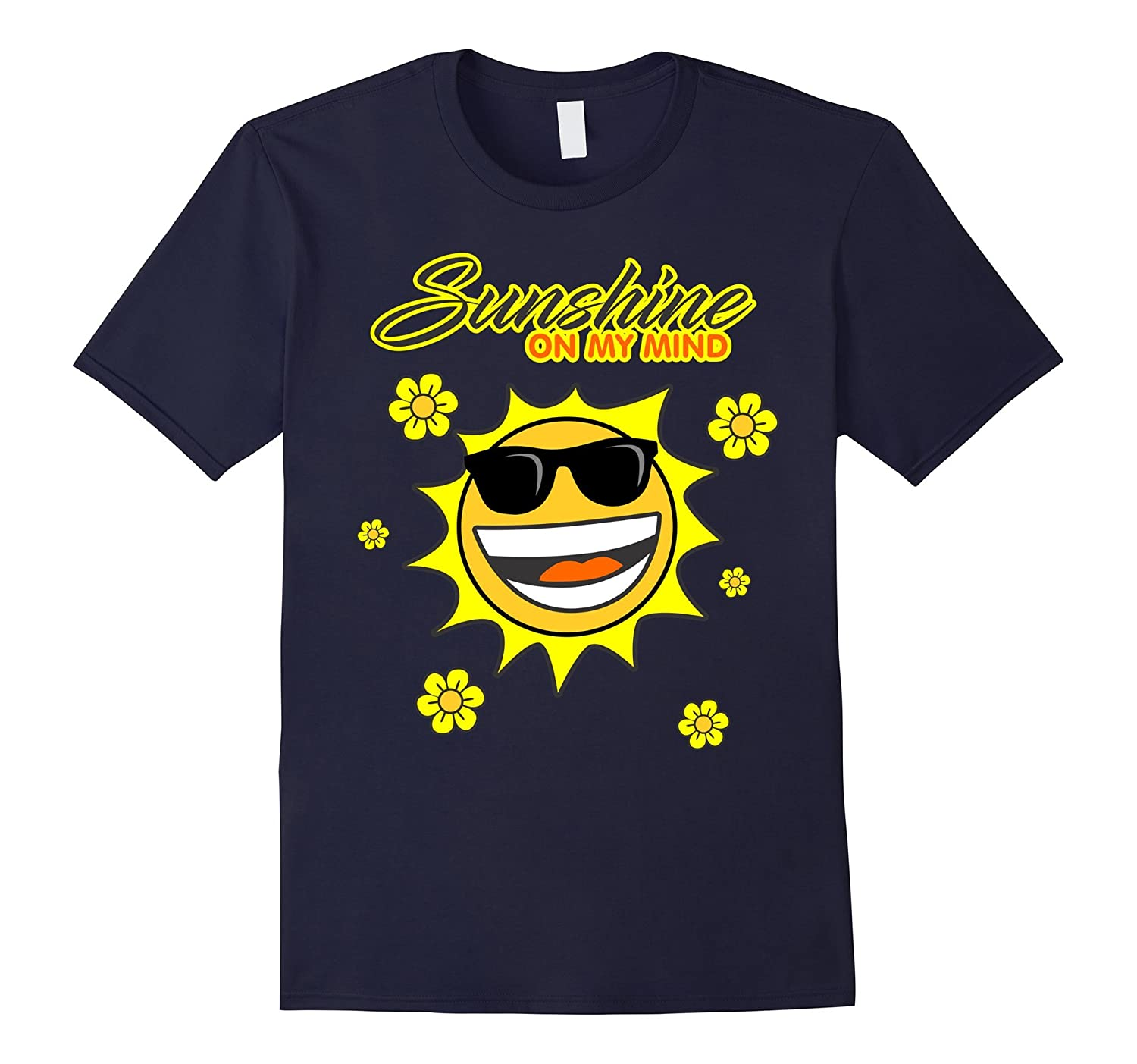 Sunshine On My Mind T-shirt - Fun Summer Beach Sun emoji Tee-Art