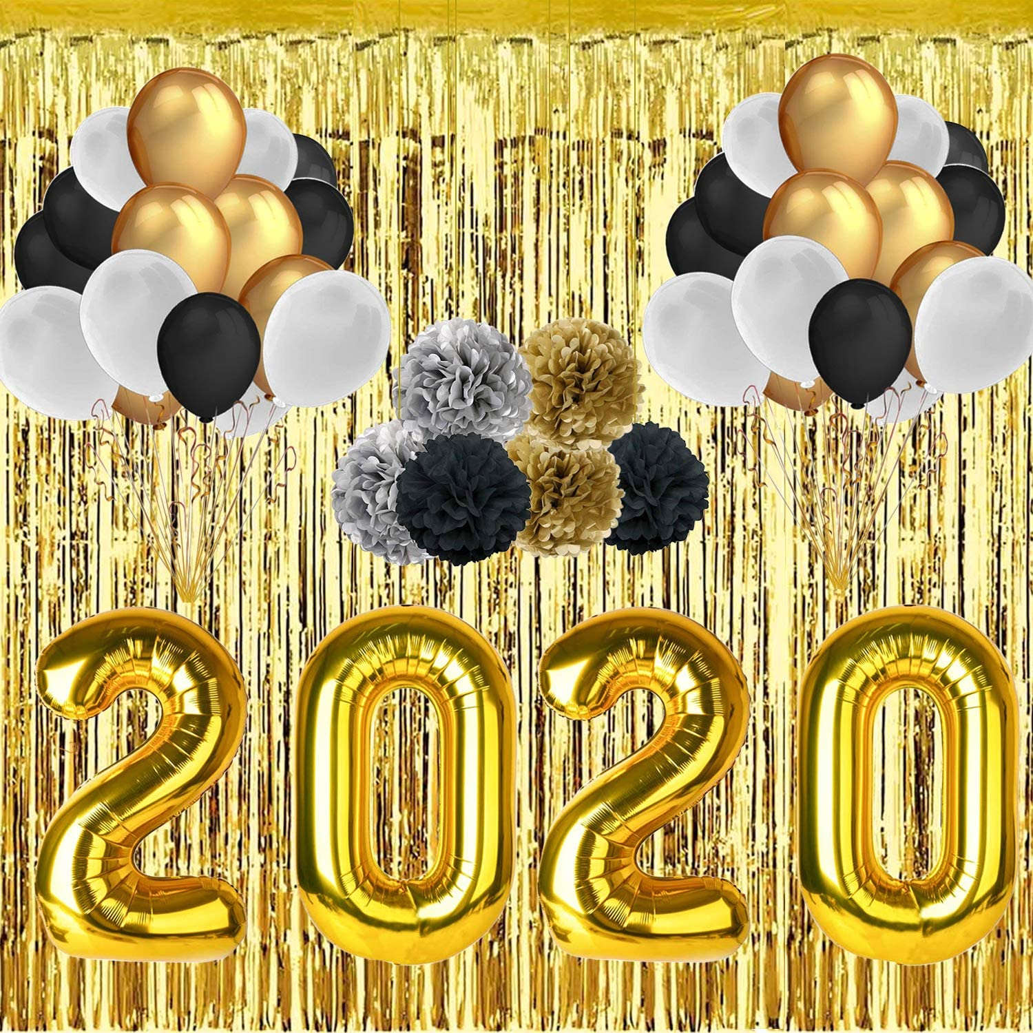 2020 Graduration Party Supplies - 40'' 2020 Foil Gold Balloons - 30 Pieces 12'' Latex Balloon - 118'' Foil Gold Rain Curtain - 6 Pieces 10'' Paper Flower Ball 2020 Graduation Decorations