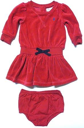 RALPH LAUREN Polo Infant Girls 2 Piece Short Sleeve Colorblock Dress Pink Multi