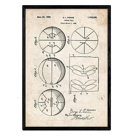 Nacnic Poster con Patente de Pelota Baloncesto. Lámina con diseño ...
