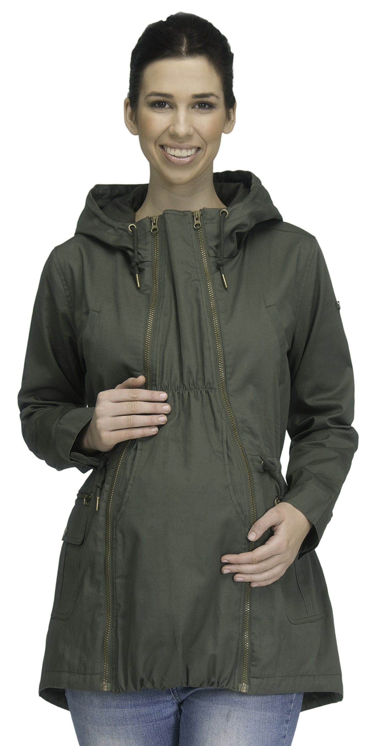 Modern Eternity Womens Military Style Jacket Maternity Large Khaki Green by Modern Eternity