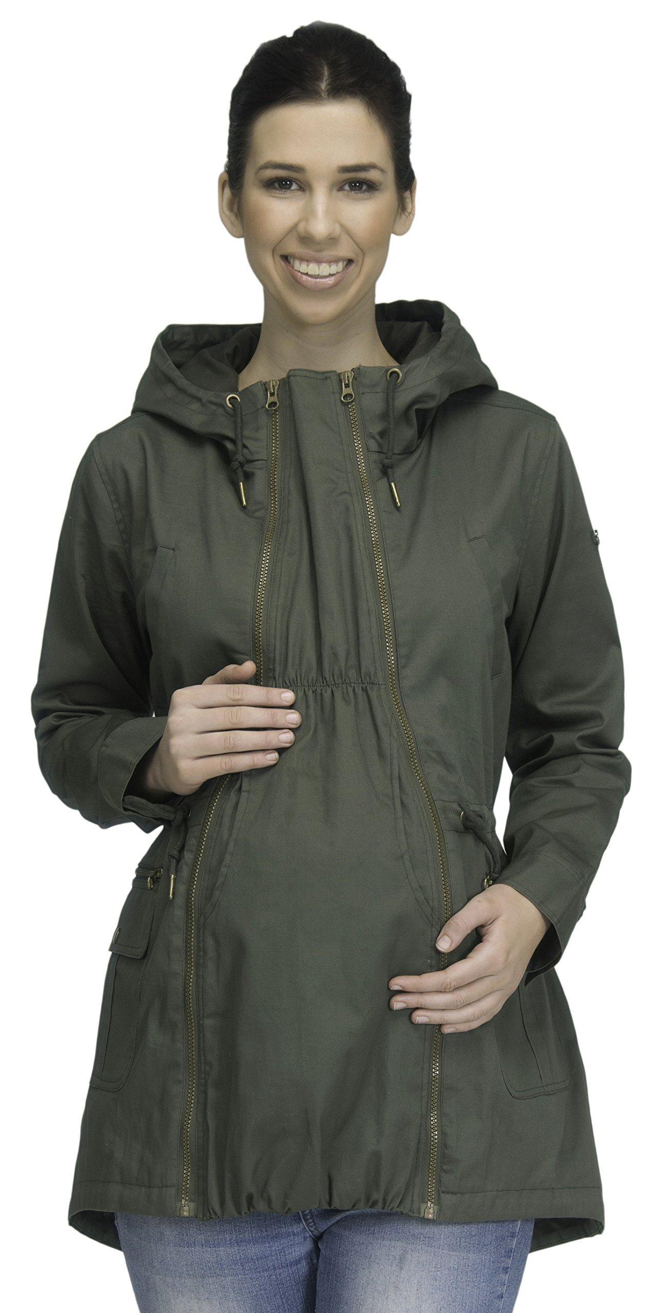Modern Eternity Womens Military Style Jacket Maternity Large Khaki Green