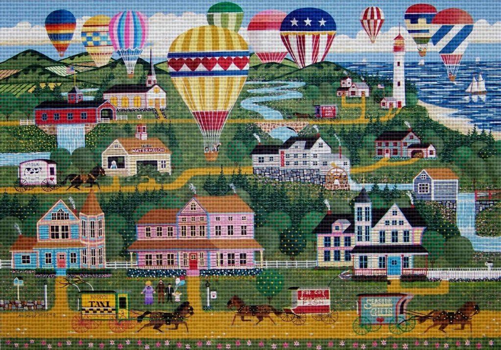 Art Needlepoint Cape May Balloon Festival Classic Landscape Needlepoint Canvas by Anthony Kleem