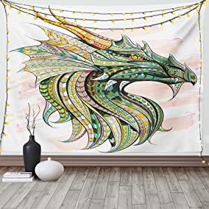 Ambesonne Celtic Tapestry, Head of Dragon with Ornate Effects on Grunge Backdrop Mythical, Wide Wall Hanging for Bedroom Living Room Dorm, 60