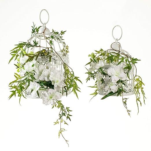 Jaula decorativa de metal para pájaros con flores artificiales ...