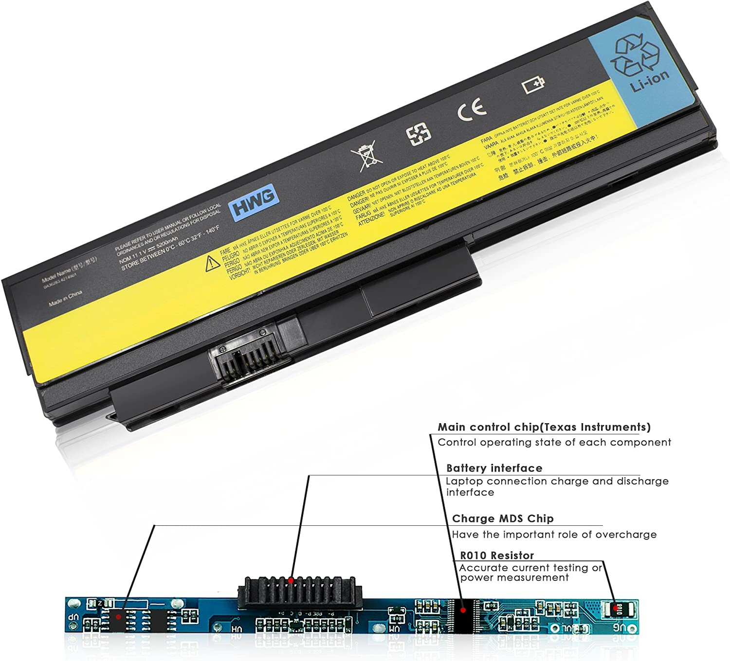 HWG X220 6 Cells 5200mAh Battery for Lenovo ThinkPad X220 X220i X220s 0A36281 0A36282 0A36283 42T4863 42Y4864 42T4867 42Y4868 42T4873 42Y4874 42T4901 42T4902 42Y4940
