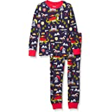 Hatley Boys' Organic Cotton Long Sleeve Printed Pajama Set