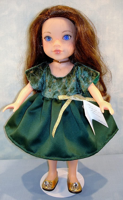 14 Inch Doll Clothes Dark Green Velvet and Satin Dress handmade by Jane Ellen