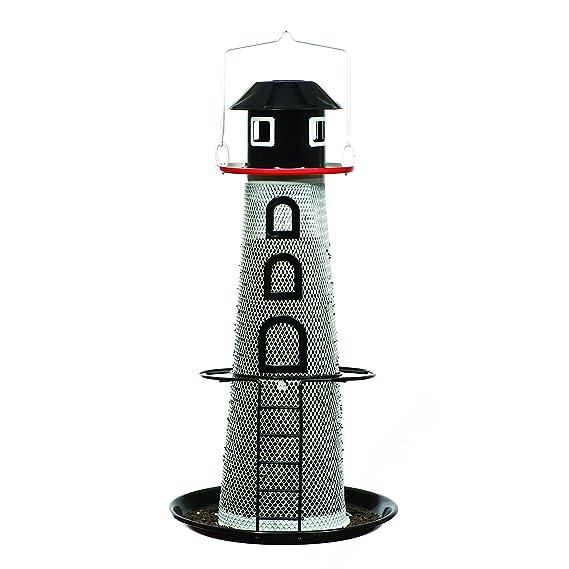 Perky-Pet Solar-Wildvogel-Futterspender, Leuchtturm, Vogelfuttersäule aus Metall - Füllkapazität 0,7 kg - Mod. LH00355
