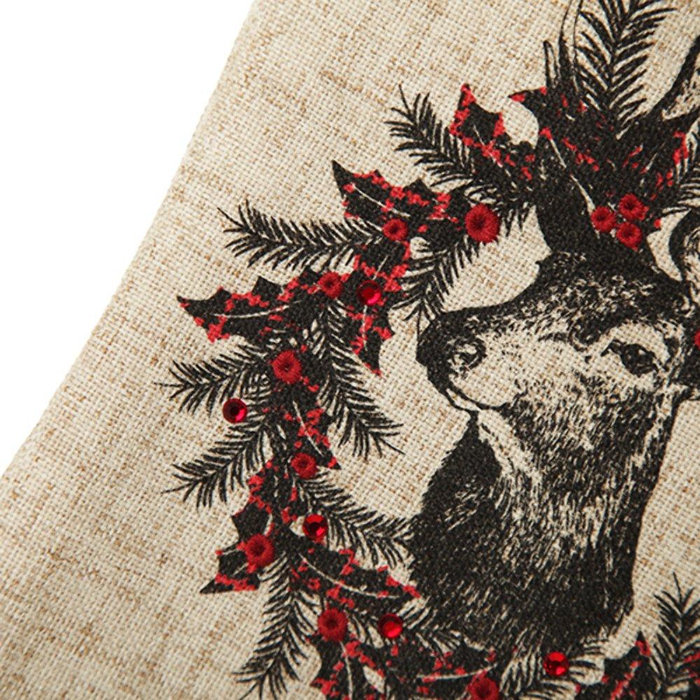 Personalised Vintage Reindeer Christmas Stocking Black Cuff