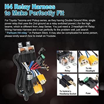 2PCS 7x6 5x7 inch LED Headlights 6054 H6054 w/ H4 Headlight Relay Harness Jeep Headlight Relay Wiring on
