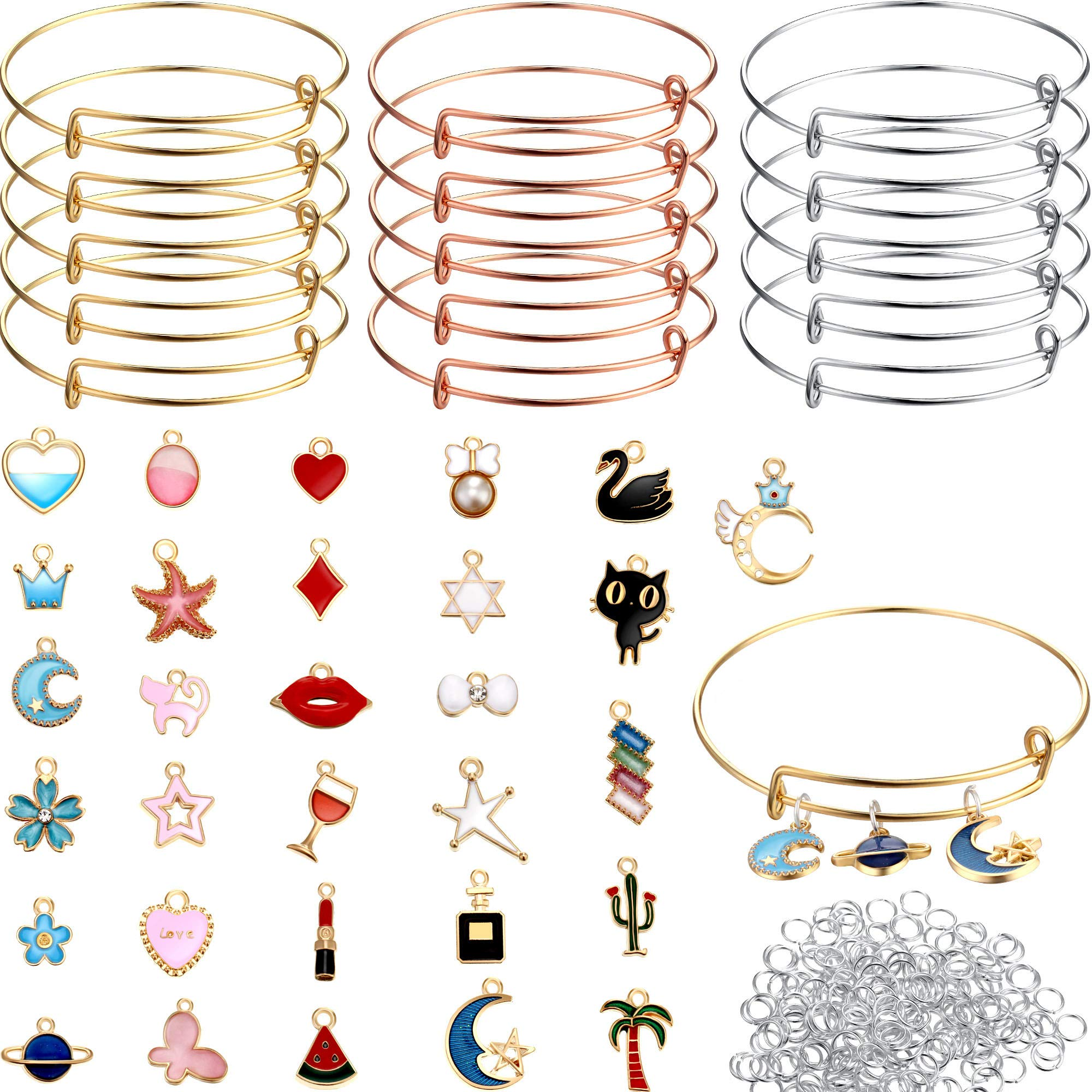 45 DIY Gold Charm Pendant Assorted with Expandable Bangle Adjustable Wire Bracelets for DIY Craft Jewelry Making, Extra 200 Pack Open Ring