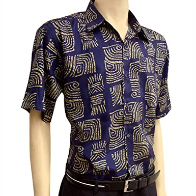 3e6ef999afc Image Unavailable. Image not available for. Color  Men s BLUE Short Sleeve  Thai Silk Hawaiian Shirt ...